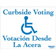 Bilingual Curbside Voting Sign (with Access Symbol) (English/Spanish)