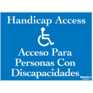 Bilingual Handicap Access Sign (with Access Symbol) (English/Spanish)