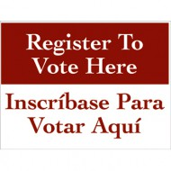 Bilingual Register to Vote Here Sign (English/Spanish)