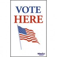 Vote Here With Flag Sign