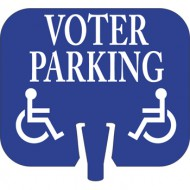 Handicap Voter Parking Cone Cap Sign