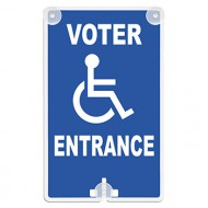 Voter Entrance (with Handicap Access Symbol) Suction Cup Sign