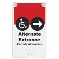 Alternate Entrance (with Handicap Access Symbol & Arrow) Suction Cup Sign