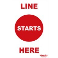 """24"""" x 36"""" Line Starts Here Election Sign"""