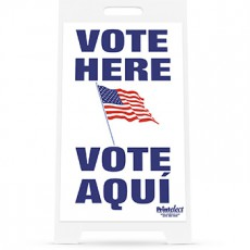 Vote Here / Vote Aqui with Flag Sign
