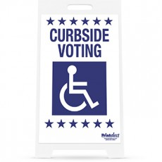 Curbside Voting with Access Symbol Sign