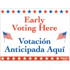 Bilingual Early Voting Here Sign (English/Spanish)