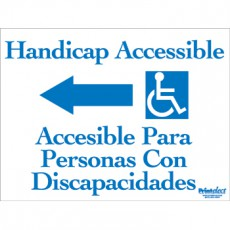 Bilingual Handicap Accessible Sign (with Arrow & Access Symbol) (English/Spanish)