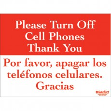 Bilingual Please Turn Off Cell Phones Sign (English/Spanish)