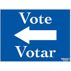 Bilingual Vote Sign (with Arrow) (English/Spanish)
