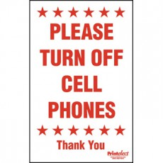 "24"" x 36"" Please Turn Off Cell Phones Sign"