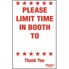 Please Limit Time In Booth Sign