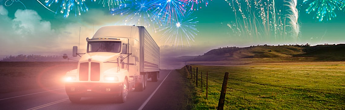 truck with fireworks background